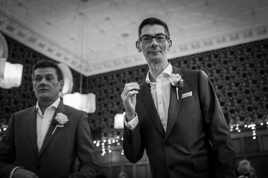 groom with best man cathedral quarter hotel