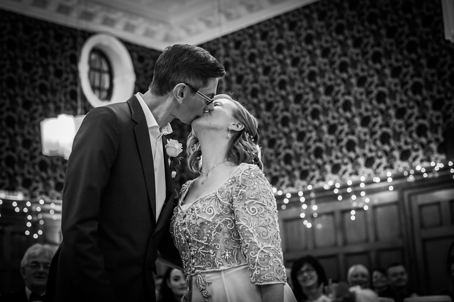 bride & groom first kiss cathedral quarter hotel