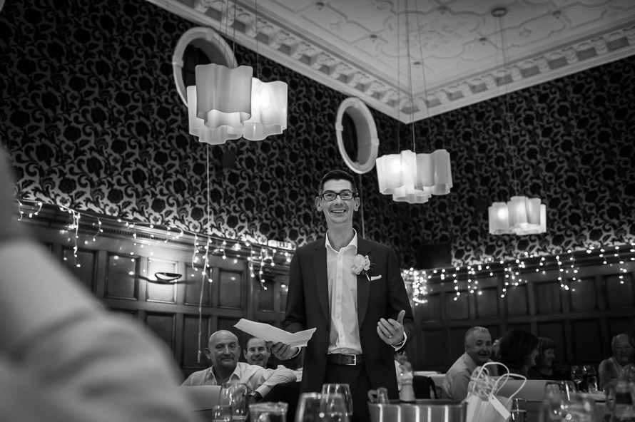black and white image of grooms speech cathedral quarter hotel