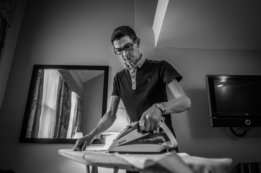 groom ironing shirt cathedral quarter hotel