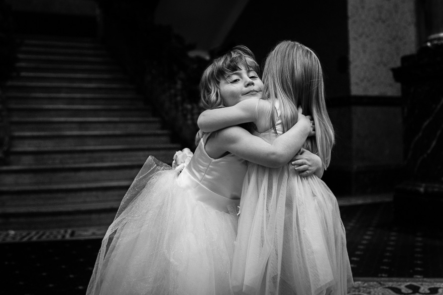 bridesmaid hugging cathedral quarter hotel
